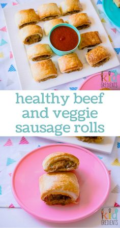 Healthy beef and veggie sausage rolls. Perfect for your next party, homemade and so very yummy! Lunch Box Recipes, Baby Food Recipes, Cooking Recipes, Lunchbox Ideas, Cooking Ideas, Food Ideas, Toddler Meals, Kids Meals, Toddler Food