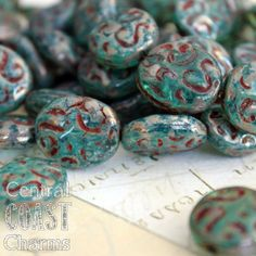 BACK IN STOCK ~ Ocean Fossil - Czech Glass Chunky Oval beads 17x14mm - 10pcs - Aqua Sepia Silver Rustic Picasso - Central Coast Charms