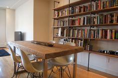diy table AND shelving?  i'm challenged...and inspired.  maybe we really can have a reclaimed wood table on the cheap.