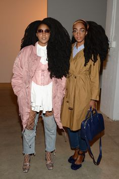 Cipriana Quann and TK Quann attend the Creatures of the Wind collection during New York Fashion Week The Shows at Gallery 2 Skylight Clarkson Sq on. Star Fashion, Look Fashion, Autumn Fashion, Quann Sisters, Cipriana Quann, Street Chic, Street Style, Afro Punk, Moda Emo