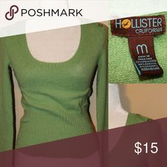 HOLLISTER Green cashmere like sweater Soft and fluffy feeling fitted sweater with two buttons on each shoulder very cute sweater Hollister Sweaters Crew & Scoop Necks