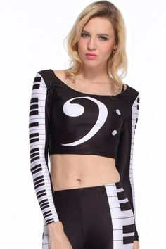 ROMWE | Piano Keyboard Print T-shirt, The Latest Street Fashion
