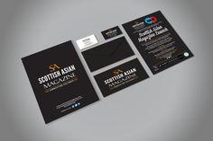 SCOTTISH ASIAN MAGAZINE – Full stationery pack for Scottish Asian Magazine with poster, flyers, business cards and invitation cards