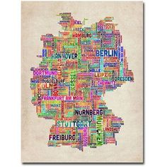Trademark Art Germany Text Map Canvas Wall Art by Michael Tompsett, Size: 18 x 24, Multicolor