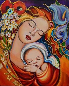 Artwork by Laura V. Catholic Art, Religious Art, Mother And Child Painting, Mother Art, Baby Painting, Mary And Jesus, Madonna And Child, Art Moderne, Mexican Art