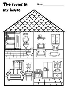 The rooms in my house Learning English For Kids, Teaching English, Preschool Lessons, Preschool Worksheets, English Activities, Preschool Activities, House Drawing For Kids, September Preschool, All About Me Preschool