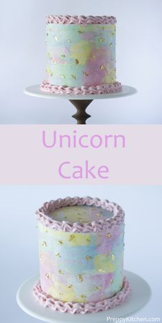 Unicorn Cake Unicorn Cake A watercolor cake with soft pink edging and a smattering of edible gold. Cupcakes, Cupcake Cakes, Candy Cakes, Fun Desserts, Delicious Desserts, Cake Recipes, Dessert Recipes, Watercolor Cake, Zucchini Cake