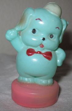 1950's Plastic Celluloid Tape Measure Blue Dog Sewing Figural Japan Occupied