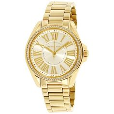 Pre-owned Michael Kors Kacie MK6184 Gold Tone Stainless Steel Ladies... (€135) ❤ liked on Polyvore featuring jewelry, watches, stainless steel watches, stainless steel jewelry, gold tone jewelry, bezel watches and quartz jewelry