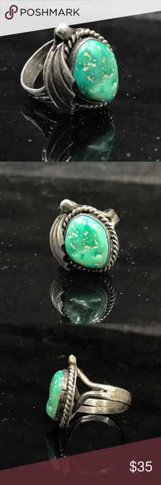 Sterling silver and green turquoise ring Beautiful green tone turquoise set in sterling silver. Unique design-very pretty!! Native American Jewelry Rings