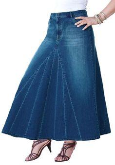Denim 24/7 Women's Plus Size Long Denim Skirt, Denim 24/7,http://www.amazon.com