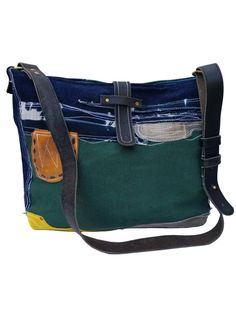 DENIM Leather Bucket bag Vintage Leader Denim Bag Every by ADENKIN