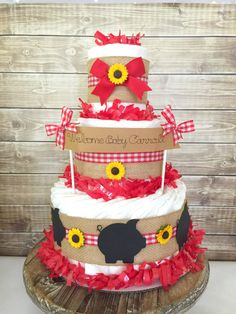 Barbecue Baby Shower Centerpiece, Farm Baby Shower Decoration, Gingham Diaper Cakes, Baby Q by AllDiaperCakes on Etsy https://www.etsy.com/listing/464951859/barbecue-baby-shower-centerpiece-farm