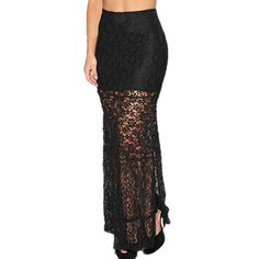 Look-Through Tight-Fitting Split Black Maxi Skirt High Waisted Skirts on buytrends.com