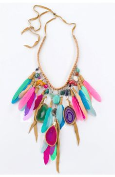 colorful  boho  bohemian  beach  feathers  color  pastel  neon  statement  jewelry  necklace