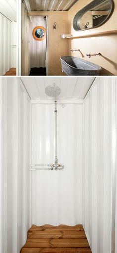 This boutique shipping container hotel has a bathroom with an all white shower.