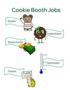 Cookie booth jobs - kaper chart. Use clothes pins to mark who has which job!