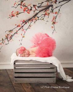 CORAL TUTU and Headband Newborn Tutu Baby Tutu par LilPinkGoose, $35,95
