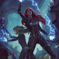 Looks to be some sort of futuristic mesh armor. While it is very tight, it looks like they're going up against enemies that might try to grab them. So tight clothing makes sense. The hair should probably be shorter, but we're not judging hair. Fantasy Girl, Dark Fantasy, Character Concept, Character Art, Concept Art, Fantasy Characters, Female Characters, Arte Ninja, Shadowrun