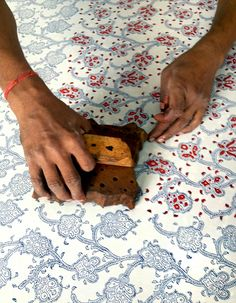 block print fabric in Nepal. Textile Patterns, Textile Prints, Textile Design, Textile Art, Print Patterns, Fabric Design, Stamp Printing, Printing On Fabric, Screen Printing