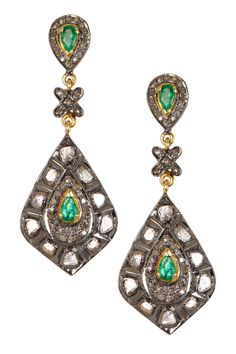 Rivka Friedman Emerald & Champagne Diamond Double Drop Earrings on HauteLook