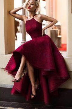 Cute Crimson lace high low prom dress