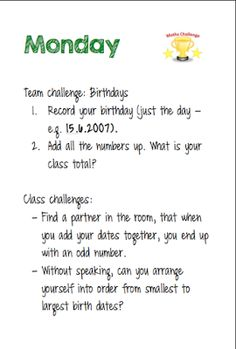 Room 12's Blog: Maths Week Challenges Team Challenges, It's Your Birthday, Maths, Room, Bedroom, Rooms, Peace