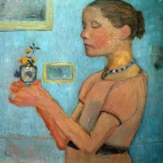 Modersohn-Becker, Paula : Girl w.Flowers