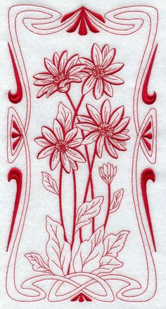 BLOOMING Art Nouveau  GERBERA DAISY  Machine by AzEmbroideryBarn, $12.95