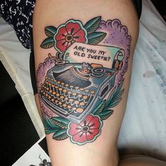 Traditional typewriter tattoo done by Lucky in Love Tattoo in Morgans Point,TX Tasteful Tattoos, Love Tattoos, Beautiful Tattoos, Body Art Tattoos, I Tattoo, Tatoos, Teapot Tattoo, Typewriter Tattoo, Stephen King Tattoos