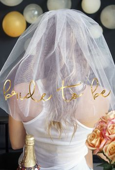 This Bride Veil is picture perfect! It makes an amazing Bachelorette Veil too! Available in 3 colors and also has a matching sash with gold metallic print also! Exclusively available at The House of Bachelorette!