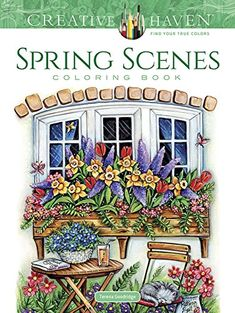 Creative Haven Spring Scenes Coloring Book  Let your creativity spring to life with 31 illustrations that celebrate the most colorful season of the year. Wonderfully detailed scenes are set in both the country and city and are filled with gorgeous flowers in full bloom, gardening accessories, chirping birds, well-decorated homes, and more. Pages are perforated and printed on one side only for easy removal and display. Specially designed for experienced colorists,  Spring Scenes  and ..