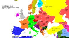 An awesome map of the last time each European country was occupied. As the idea of wars for territorial conquest has faded in Europe and the rest of the world it makes Putin's grab of the Crimea much more abhorrent. European Map, European Countries, European History, World History, American History, Countries Europe, Family History, Serbia And Montenegro, France Culture