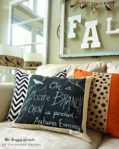 Easy DIY Chalkboard Pillow Tutorial. #diy #home #decor