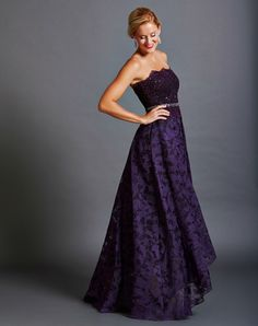 762e4748f5 Eggplant Scalloped High Low Gown with Jewelled Waist Rent Designer Dresses
