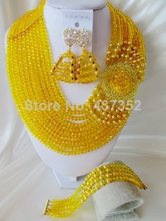 Find More Jewelry Sets Information about Beautiful 2014 New Yellow Crystal Costume Necklaces Nigerian Wedding African Beads Jewelry Set NC1266,High Quality Jewelry Sets from Alisa's Jewelry DIY Store on Aliexpress.com