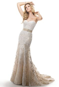 Brides: Maggie Sottero. Corded ombre lace appliques on tulle over Sinatra satin. Includes detachable grosgrain ribbon belt features circular Swarovski crystal brooch.��More details from Maggie Sottero