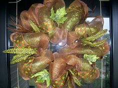 Green and Brown Mesh Wreath