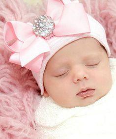 Look at this #zulilyfind! Pink Large Rhinestone Bow Beanie by Infanteenie Beenie #zulilyfinds