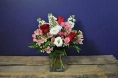 H.J. Benkens Cherish #arrangement with #Roses #Lisianthus #Stockflower #Alstro #Sprayroses by Benkens.com #valentines #valentinesday #cincinnatiohio #cincinnatiflorist #ohioflorist #florist #flowers #vasearrangement #valentineflowers #bouquet