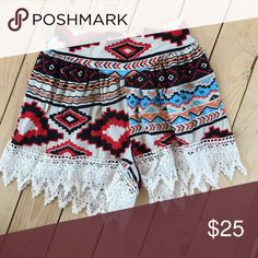 Cute pull on shorts Aztec crochet trim small size Crochet trim Aztec print cotton and spandex blend will have our tags attached boutique embellished cowgirl Shorts
