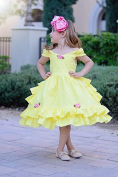 Girls Belle dress by SoSoHippo on Etsy
