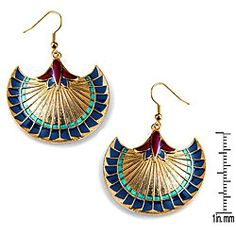 @Overstock - These decorative pewter earrings by Eziba are inspired by life in ancient Egypt. Accents of light blue, navy, and burgundy bring the gold background of the earrings to life. The shepherds-hook back means no fussing with a clasp or screw.http://www.overstock.com/Jewelry-Watches/Pewter-Egyptian-Papyrus-Earrings/4304942/product.html?CID=214117 $19.49