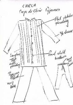 Louise's drawing of Carla silk pajamas