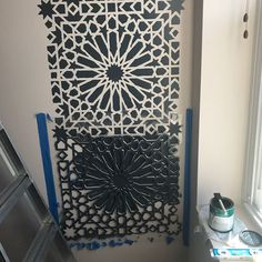 How To Stencil Accent Wall | DIY Decorating | Moroccan Magic Tile Stencil | Cutting Edge Stencils    #stencils #diy #decorating #accentwall #stenciled
