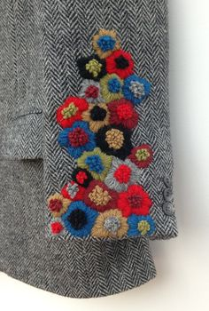 Harris Tweed Jacket Hand Embroidered Vintage Harris Tweed Jacket Hand Embroidered by didyoumakeityourself Embroidery Designs, Embroidery Art, Embroidery Stitches, Bone Bordado, Needlework, Sewing Projects, Sewing Crafts, Sewing Patterns, Quilting