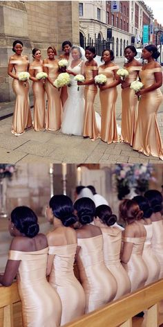 Floor-Length Light Champagne Bridesmaid Dresses, Long Bridesmaid Dresses For Wedding - Bridesmaid dresses Bridesmaid Dresses Long Champagne, Printed Bridesmaid Dresses, Mermaid Bridesmaid Dresses, Best Wedding Dresses, Mermaid Dresses, Wedding Bridesmaids, Wedding Gowns, Wedding Venues, Wedding Ideas