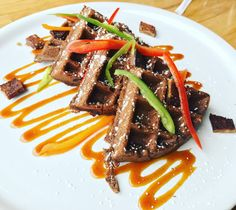 Mexican Chocolate Waffle with Spicy Tequila Caramel Sauce & Candied Vegan Bacon