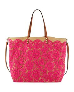 Valentino Glam Lace Tote Bag - Neiman Marcus  Ohhhhh my! Love this pink bag!!!