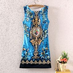 Elegant Women Sleeveless Baroque Geometric Floral Print Bodycon Slim Mini Dress